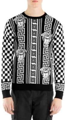 Versace Intarsia Check Sweater