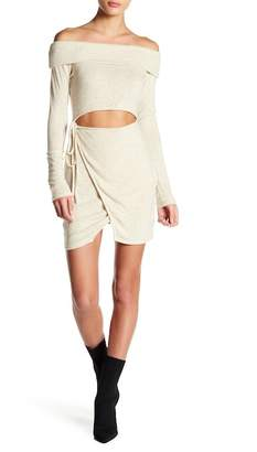 EMORY PARK Off-the-Shoulder Knit Front Cutout Dress