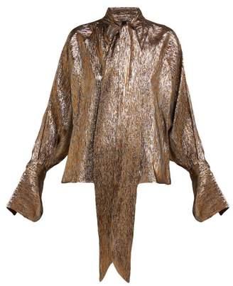 Petar Petrov Brook Metallic Silk Blend Blouse - Womens - Gold
