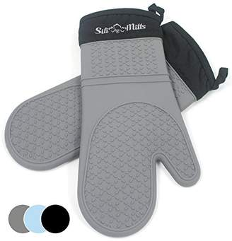 Grey Silicone Oven Hot Mitts - 1 Pair of Extra Long Professional Heat Resistant Pot Holder & Baking Gloves - Food Safe