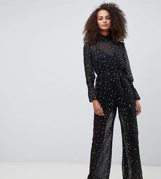 Kiss The Sky high neck sheer jumpsuit in metallic star print
