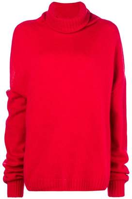 Circus Hotel sleeve cut-out turtleneck jumper
