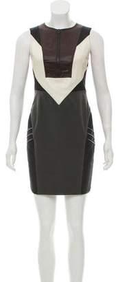 Alexander Wang Leather-Accented Virgin Wool Dress