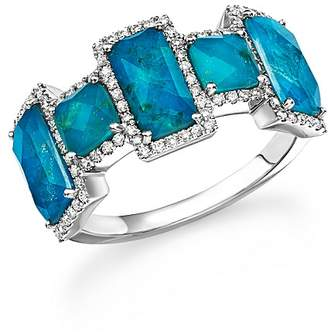 Meira T 14K White Gold Chrysocolla Doublet and Diamond Ring