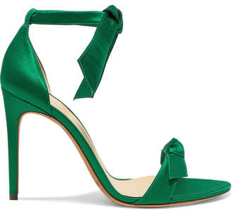Alexandre Birman Lovely Clarita Bow-embellished Satin Sandals - Green