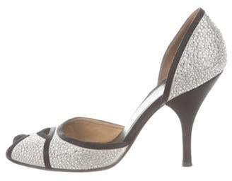 Valentino Embellished Peep-Toe Pumps Silver Embellished Peep-Toe Pumps