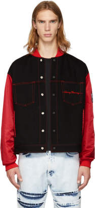Opening Ceremony Reversible Black and Red Denim Plaid Bomber Jacket