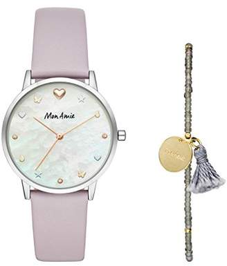 Mon Amie Women's Iconic Health Quartz Stainless Steel and Leather Watch and Bracelet Set