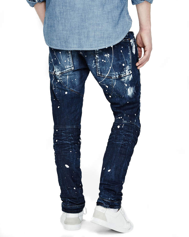 G-Star Paint-Splatter Denim Moto Jeans, Extreme Painted 4