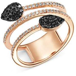 Bloomingdale's Black & White Diamond Overlapping Ring in 14K Rose Gold - 100% Exclusive
