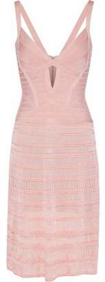 Herve Leger Cutout Paneled Bandage And Pointelle-Knit Dress