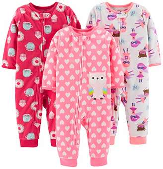 Carter's Simple Joys by Girls' Toddler 3-Pack Loose Fit Flame Resistant Fleece Footless Pajamas