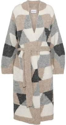 Antik Batik Jeany Belted Color-Block Alpaca-Blend Cardigan