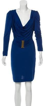 Just Cavalli Long Sleeve Cowl Dress