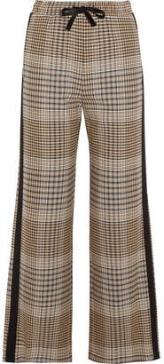 Maje Crepe-trimmed Checked Tweed Wide-leg Pants - Beige