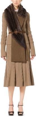 Michael Kors Guncheck Wool and Fox Fur Muffler