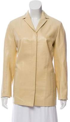 Calvin Klein Collection Leather Button-Up Jacket