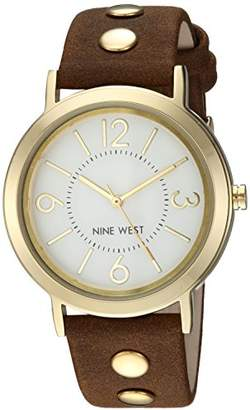 Nine West Women's NW/2058SVBN Gold-Tone and Brown Faux Suede Strap Watch