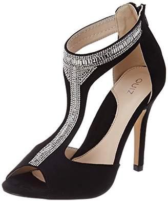 d2bdcaa300b Quiz Women s Black Embellished t-bar Ankle Strap Sandals