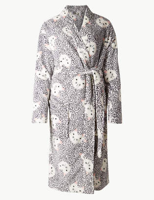 M&S Collection Fleece Cat Kimono Print Dressing Gown