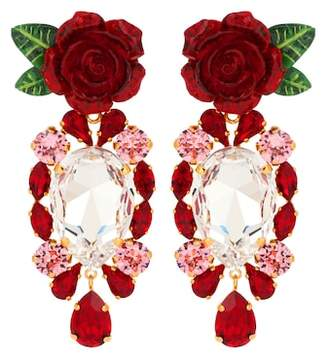 Dolce & Gabbana Rose crystal drop earrings
