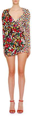 ATTICO The Long-Sleeve Mixed-Print V-Neck Mini Dress