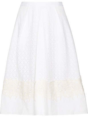 Draper James Lace-appliquéd Broderie Anglaise Cotton Skirt - White