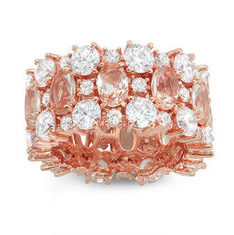 FINE JEWELRY Womens Pink Morganite 14K Rose Gold Over Silver Band