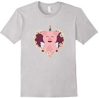 Unicorn Pig in flower heart T-Shirt for Women
