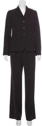 Armani Collezioni Virgin Wool Wide-Leg Pantsuit