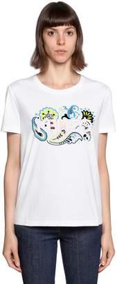 Kenzo Paisley Logo Printed Cotton T-Shirt