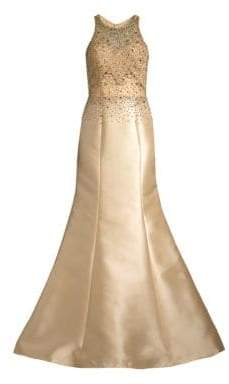 Basix Black Label Women's Beaded Halter Trumpet Gown - Champagne - Size 2