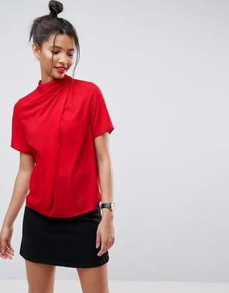 Asos Design DESIGN high neck tee with drape detail