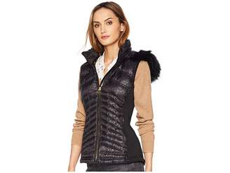 MICHAEL Michael Kors Zip Front Vest with Faux Fur Trim Hood MA820357CD