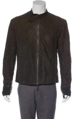 Emporio Armani Leather Cable Knit-Accented Jacket