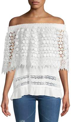 Lumie Women's Mixed Lace Off-The-Shoulder Top