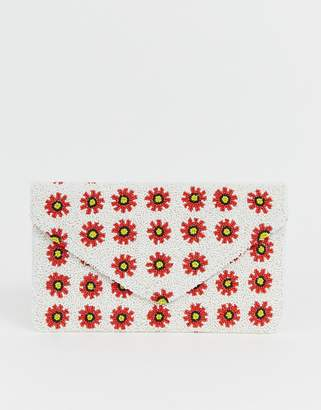 Clutch Me By Q Hand Beaded Daisy Clutch