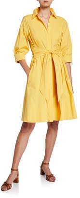 Josie Natori 3/4-Sleeve Tie-Front Stretch-Cotton Dress