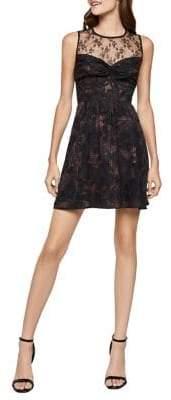 BCBGeneration Twist-Front Mixed-Media A-Line Dress