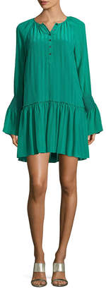 Derek Lam 10 Crosby Ruffle Silk Henley Dress
