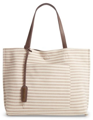 Street Level Reversible Stripe & Faux Leather Tote - Beige $48 thestylecure.com