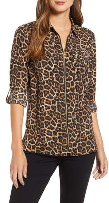 Michael Kors Leopard Print Dog Tag Zip Front Shirt