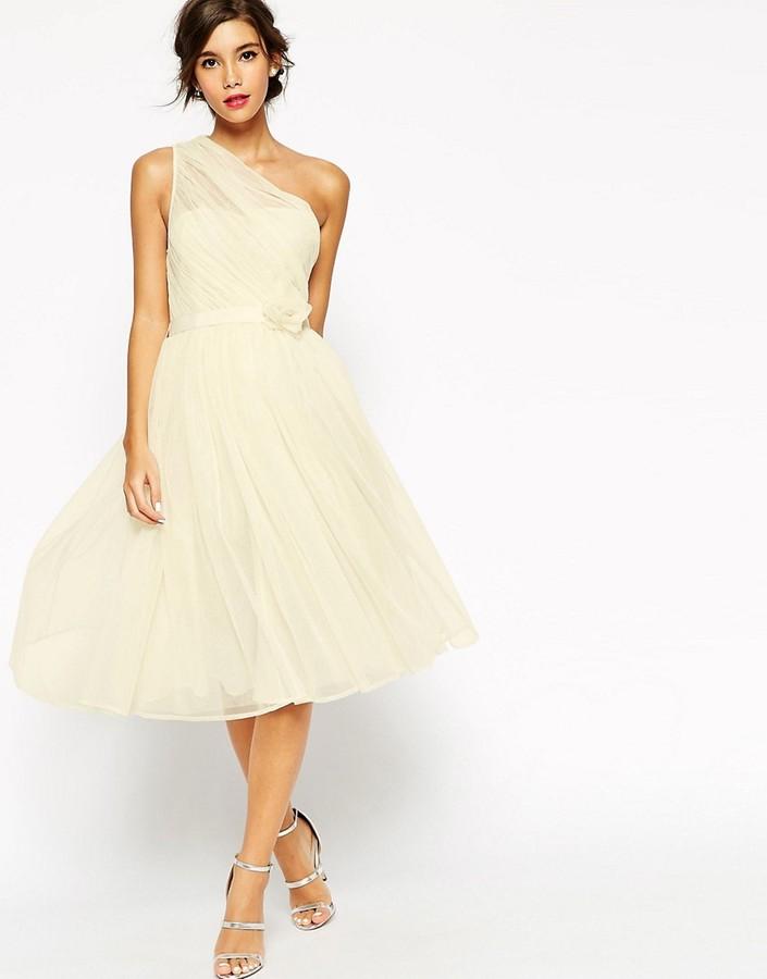 AsosASOS WEDDING Mesh One Shoulder Corsage Dress