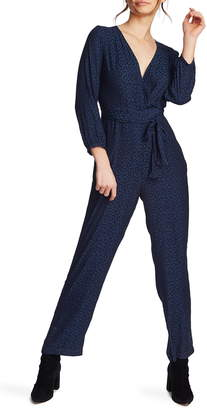 1 STATE 1.STATE Wrap Front Leopard Jacquard Jumpsuit