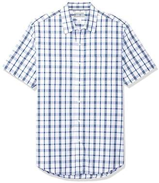Amazon Essentials Men's Slim-Fit Short-Sleeve Plaid Shirt