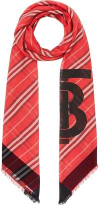 123fa3b7988 Burberry Monogram Icon Stripe Wool Silk Large Square Scarf