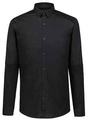 HUGO BOSS Extra-slim-fit stretch-cotton shirt with ribbed elbows