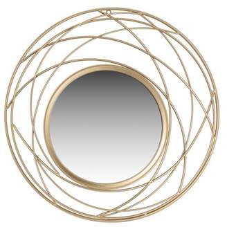 Patton Wall Decor Champagne Metal Round Wall Accent Mirror