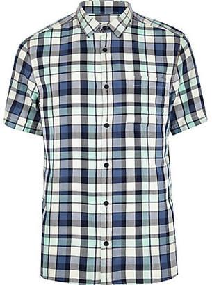 River Island Mens Black washed check short sleeve shirt