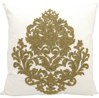 Nourison Luminecence Beaded Damask Decorative Pillow
